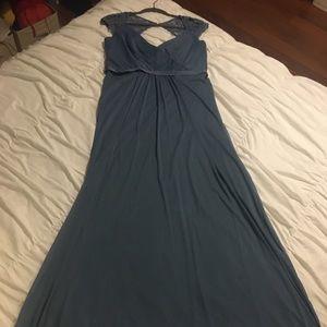 Steel blue David's bridal bridesmaid lace dress!!!